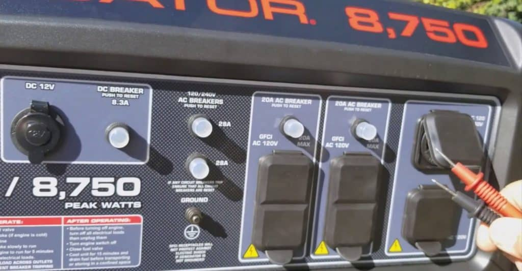 the Predator 8750 Generator control panel